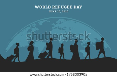 World refugee day background with people as refugee walking seek home in black silhouette. Flat style vector illustration concept of migrant awareness campaign for banner and poster. Foto stock ©