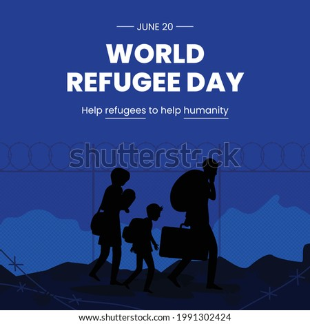 World Refugee Day. Concept of social event. 20 June. International immigration concept background. A refugee family trying to immigrate to save place. Vector Illustration. Foto stock ©