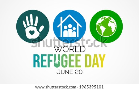 World Refugee day is observed every year on June 20, they are person who has been forced to leave their country in order to escape war, persecution, or natural disaster. Vector illustration. Stockfoto ©