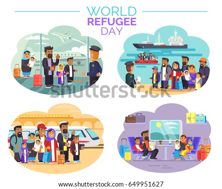World Refugee Day promotional poster with cartoon characters at airport, sea port, railway station and inside train vector illustrations.