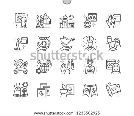 World Religion Day Well-crafted Pixel Perfect Vector Thin Line Icons 30 2x Grid for Web Graphics and Apps. Simple Minimal Pictogram