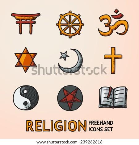 World Religion Hand Drawn Symbols Set With Christian Jewish