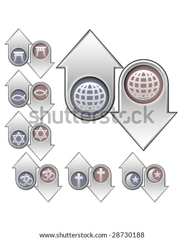 World religion symbols and icons on vector up and down arrows to indicate rising and falling popularity - good for print, web, or advertising