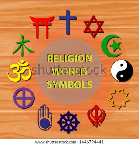 world religion symbols colored signs of major religious groups and religions at wooden background. easy to modify