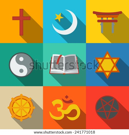 World religion symbols flat set with - christian, Jewish, Islam, Buddhism, Hinduism, Taoism, Shinto, pentagram, and book as symbol of doctrine.