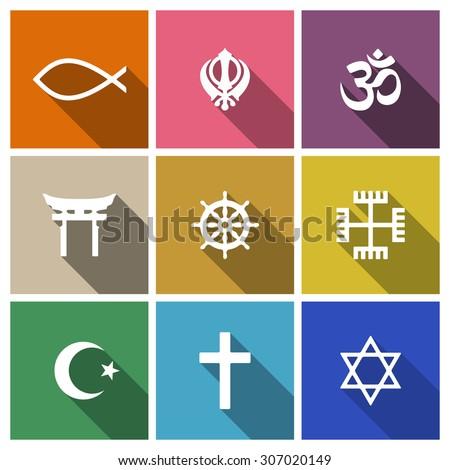 world religion symbols flat set