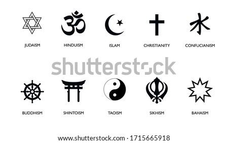 World religion symbols. Signs of major religious groups and religions. Christianity, Islam, Hinduism, Buddhism, Bahaism, Judism, Taoism, Shinto, Sikhism and Judaism, with English labeling.