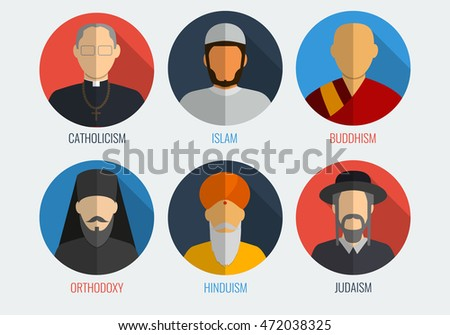 World religions monk people icons. Flat design style. Vector illustration