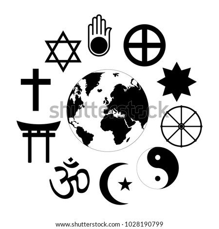 World Religions Planet Earth Flower World religions - flower icon made of religious symbols and planet earth in center.