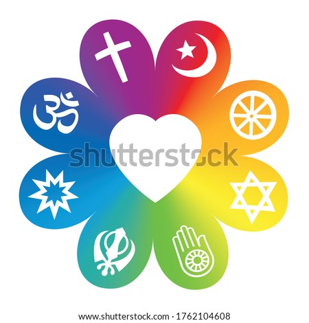 World religions. Symbols on a rainbow colored flower with a heart in center as a symbol for religious unity or commonness - Christianity, Islam, Buddhism, Hinduism, Judaism, Jainism, Sikhism, Bahai.