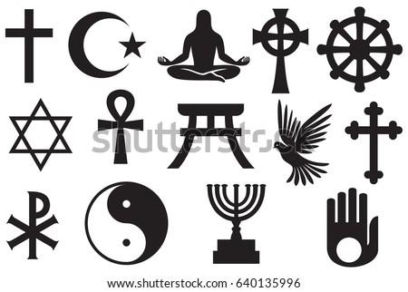 World religions symbols set - Christianity, Islam, Jewish, Buddhism, Hinduism, Taoism, Shinto, Jainism