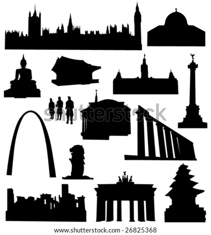 World-renowned architecture and relics silhouette