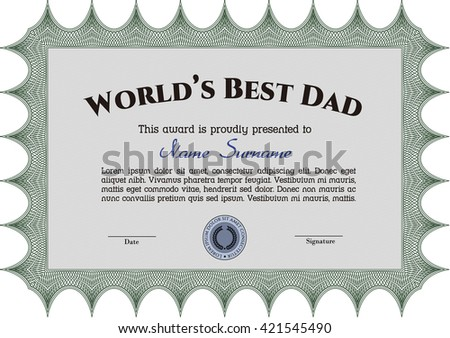 World's Best Dad Award. Printer friendly. Detailed. Complex design.