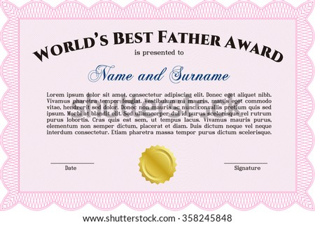 World's Best Dad Award Template. Border, frame.With guilloche pattern. Complex design.