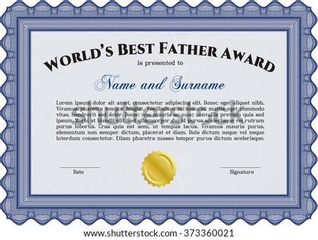World's Best Dad Award Template. Customizable, Easy to edit and change colors. Cordial design. With background.