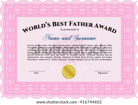 World's Best Dad Award Template. Good design. Customizable, Easy to edit and change colors. With background.