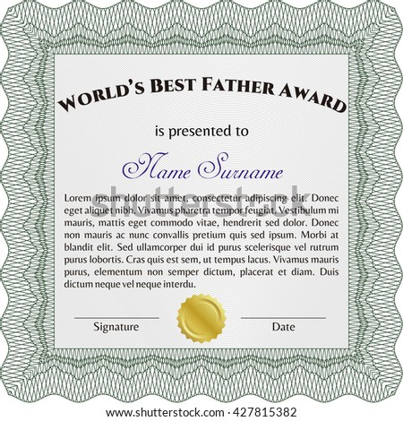World's Best Dad Award Template. Good design. With background. Customizable, Easy to edit and change colors.