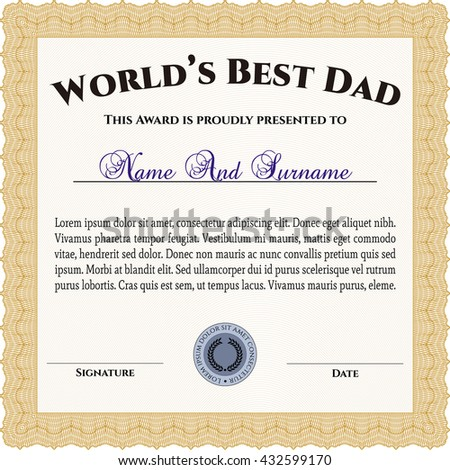 World's Best Dad Award Template. With background. Customizable, Easy to edit and change colors. Good design.