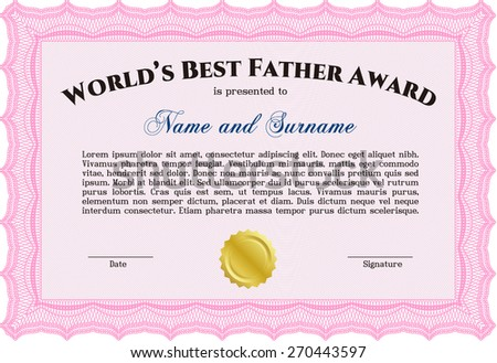 Beautiful certificate template design with best award symbol worlds best father award certificate template yelopaper Images