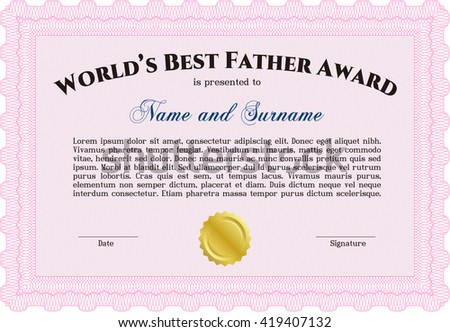 World's Best Father Award. Cordial design. Easy to print. Detailed.