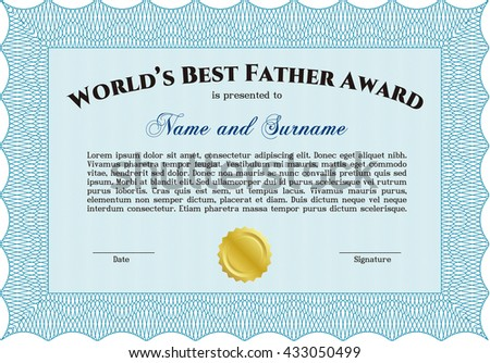 World's Best Father Award. Nice design. Easy to print. Detailed.