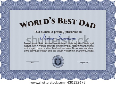 World's Best Father Award Template. With complex background. Customizable, Easy to edit and change colors. Excellent design.