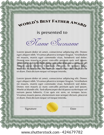 World's Best Father Award Template. With complex background. Excellent design. Customizable, Easy to edit and change colors.