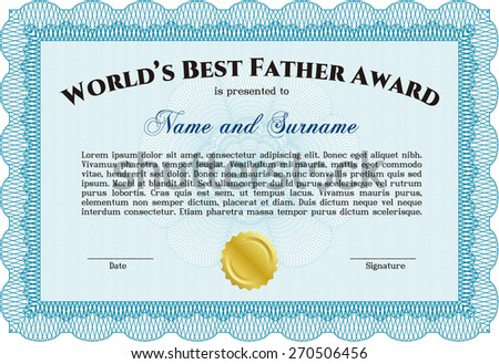 Best dad in the world background download free vector art stock worlds best father certificate award template sky blue yadclub Image collections