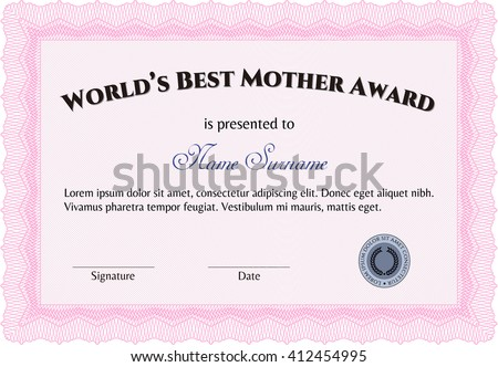 World's Best Mom Award. Printer friendly. Nice design. Detailed.