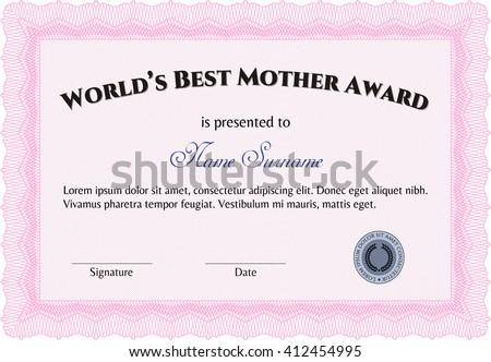 World's Best Mom Award. Printer friendly. Nice design. Detailed.