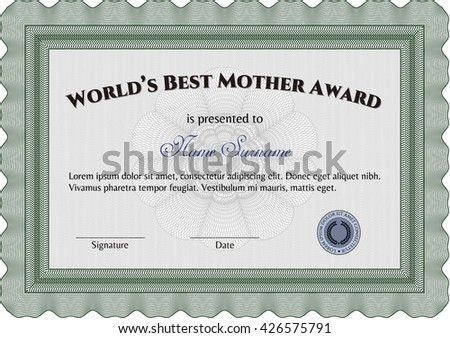 World's Best Mom Award Template. Customizable, Easy to edit and change colors. Good design. With background.