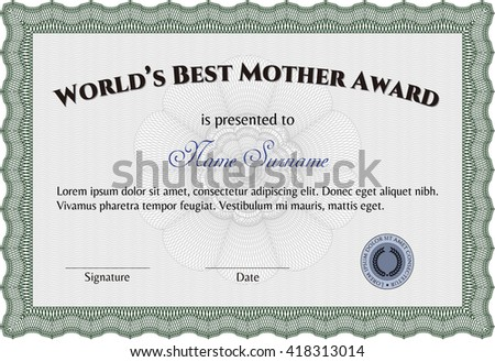 World's Best Mom Award Template. Customizable, Easy to edit and change colors. With complex background. Good design.