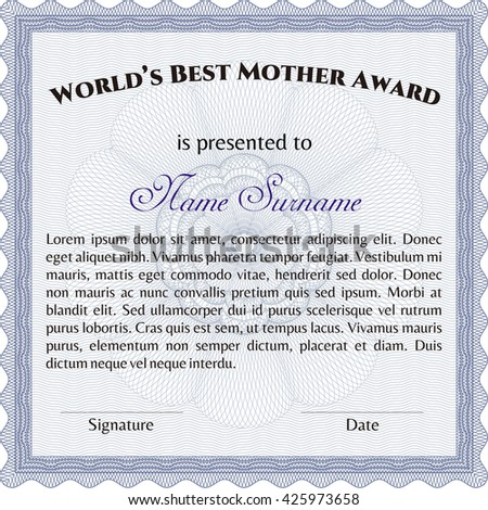 World's Best Mom Award Template. Good design. With background. Customizable, Easy to edit and change colors.