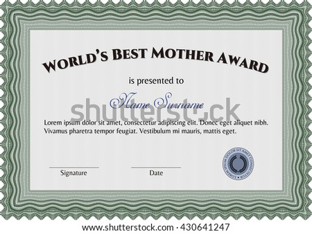 World's Best Mother Award. Nice design. Detailed. Easy to print.