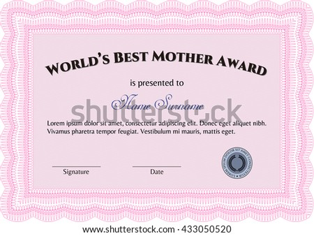 World's Best Mother Award. Nice design. Easy to print. Detailed.