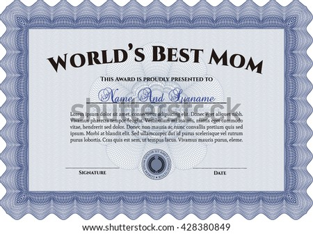 World's Best Mother Award Template. Customizable, Easy to edit and change colors. Excellent design. With complex background.