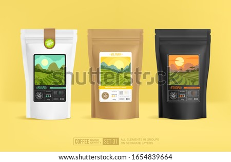 World series coffee branding design and packaging mockup template for presentation. Coffee Soul - concept of emblem or logo brand . Paper coffee package mock-up. Vector 3d illustration