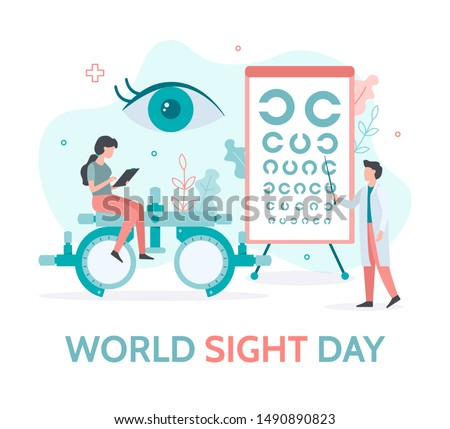 World sight day banner. A team of ophthalmologists checks the vision. Flat vector illustration.