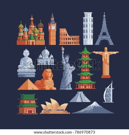 World sights. Architectural buildings. Pixel art style icons. Famous tourist attractions. Vacation time. Stickers design. Isolated vector illustration.