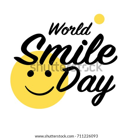 World Smile Day. Lettering and yellow emoticon. Quiet smile. Vector illustration.