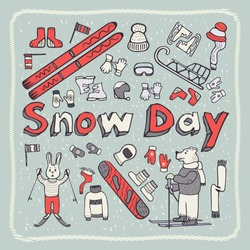 World Snow Day. Vintage, doodle style.Picture style Bear, hare skiers, winter warm clothing. Snowboard, ski, sled. On a gray background with a frame with strokes. Vector illustration