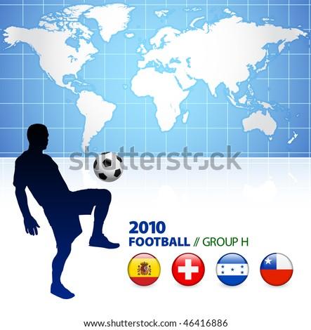 World Soccer Football Group H Original Vector Illustration