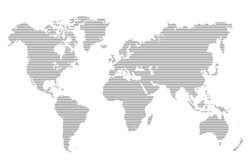 World stripes map. Vector illustration. Black lines template for media design and business infographic, website, design, cover, annual reports.