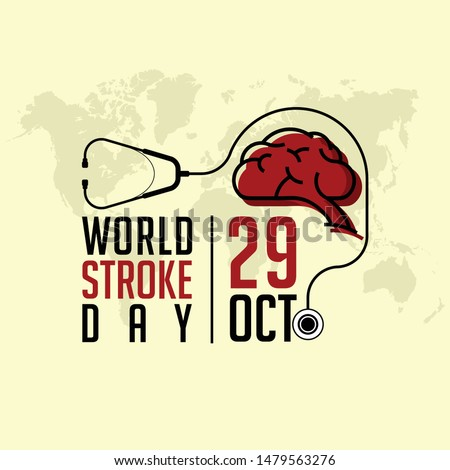 World Stroke Day on October 29, With Stethoscope and Brain vector design
