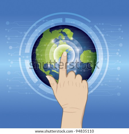 World technology with hand pushing - stock vector