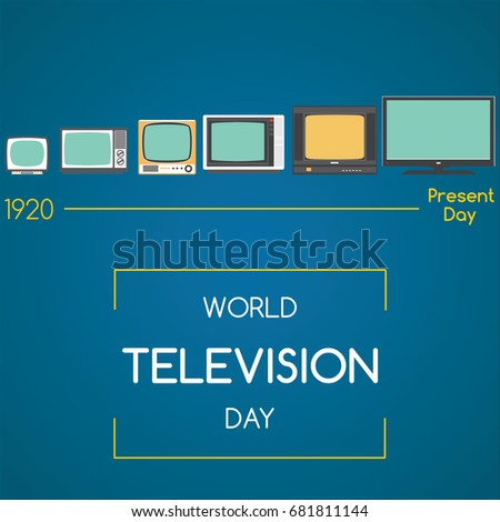 World Television Day, 21 November. Evolution of television spiritual concept illustration vector.