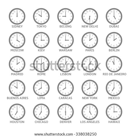 world time zone clock icon set
