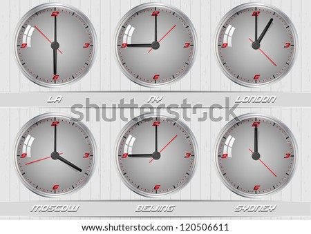 World time zones. Clocks showing the time around world