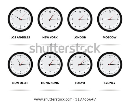 Time zone clock download free vector art stock graphics images world time zones eight different cities gumiabroncs Gallery
