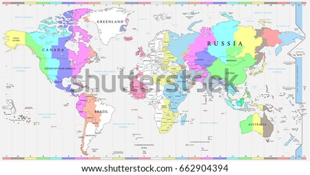 Time Map Of The World.World Time Zones Download Free Vector Art Stock Graphics Images